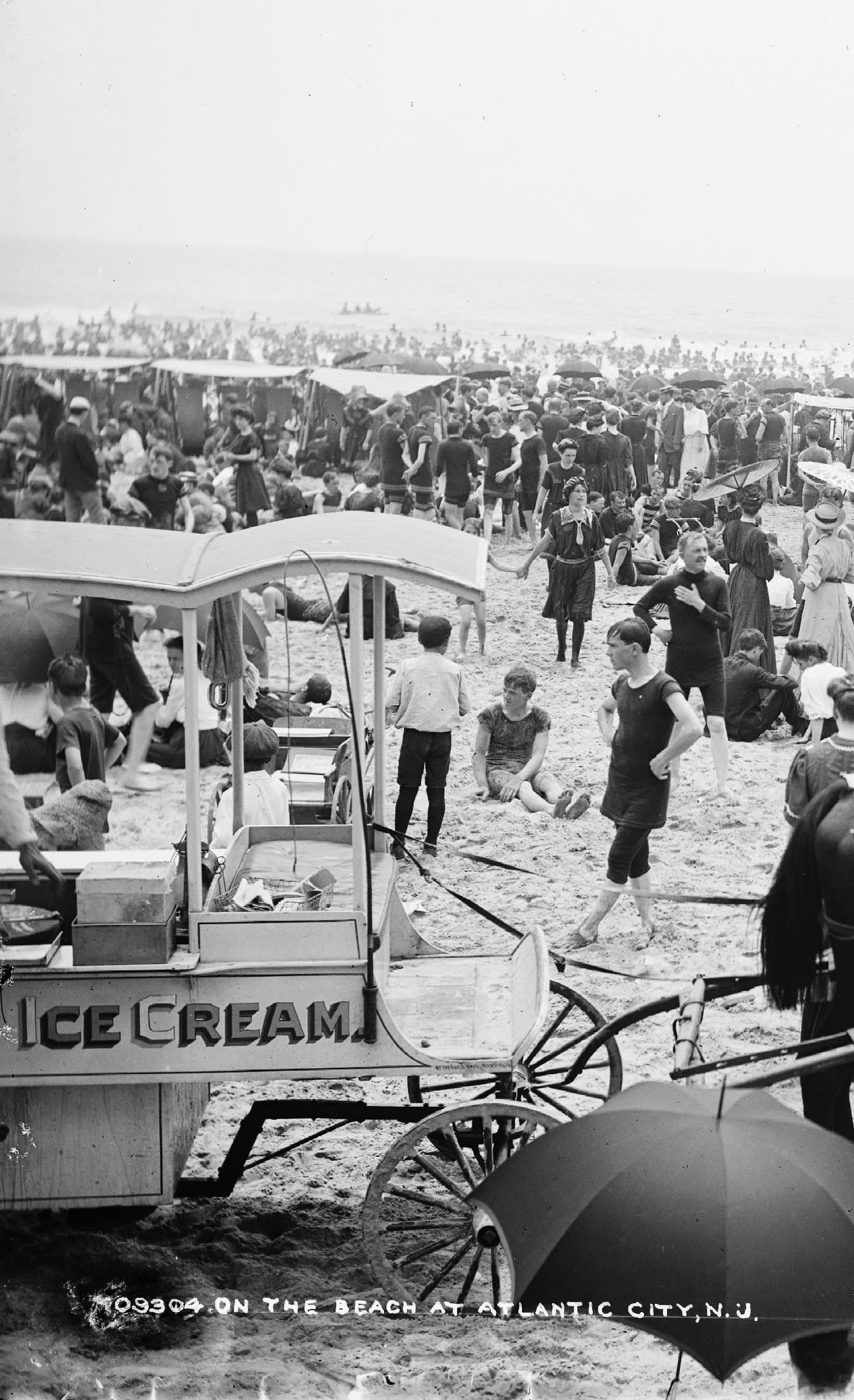 On the beach at Atlantic City (around 1904) (1)