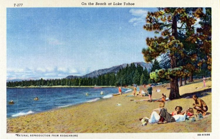 On the beach at Lake Tahoe 1940s