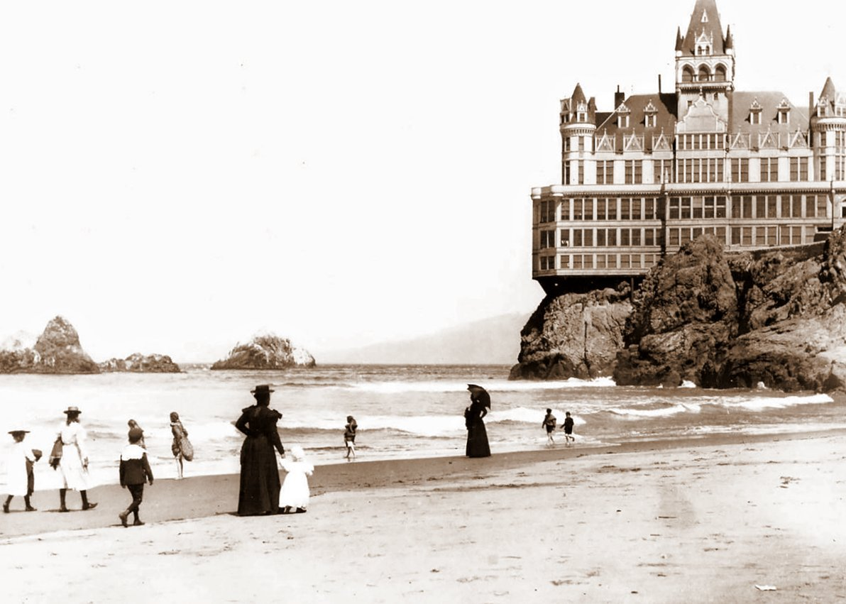 On the beach by SF Cliff House (c1901)
