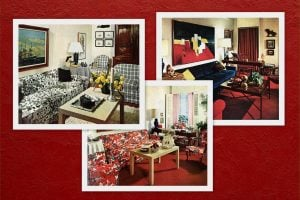 One living room, decorated 3 different ways (1965)
