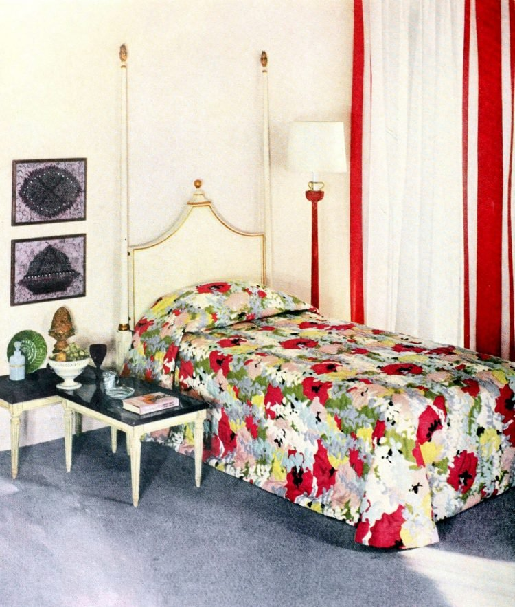 One master bedroom twin bed with dramatic floral pattern from 1959