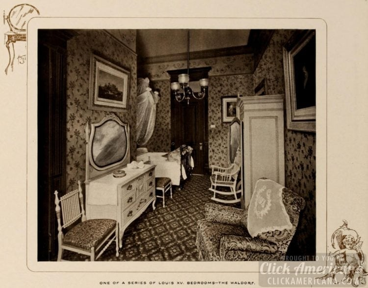 One of a series of Louis XV bedrooms at the Waldorf Hotel - 1903