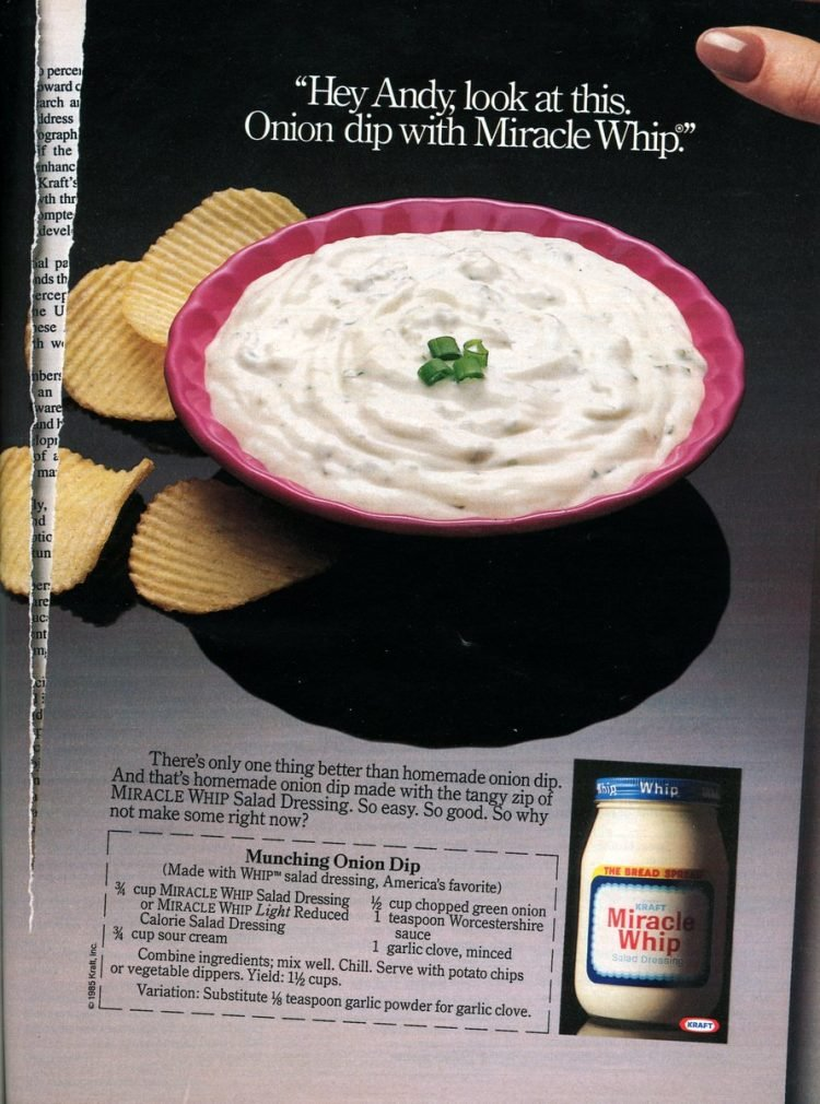 Onion dip with Miracle Whip The classic recipe from 1985