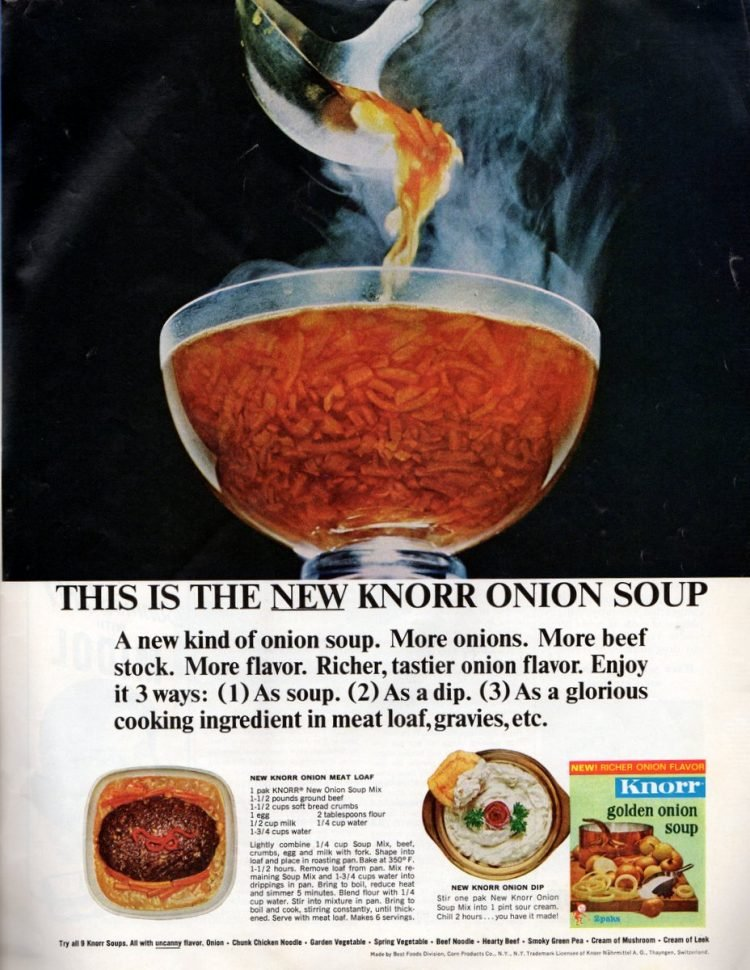 Onion meatloaf retro recipe (1964)