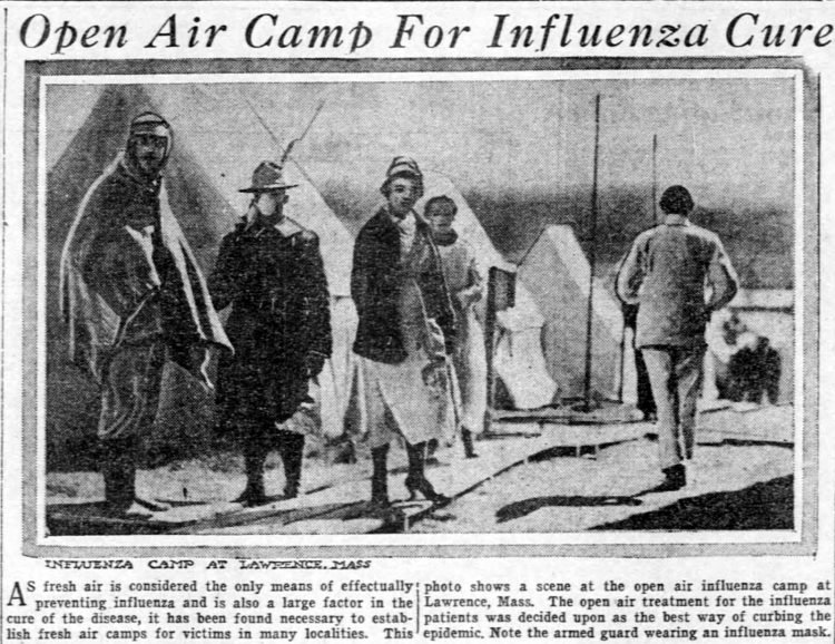 Open air camp for influenza cure - Oct 1918