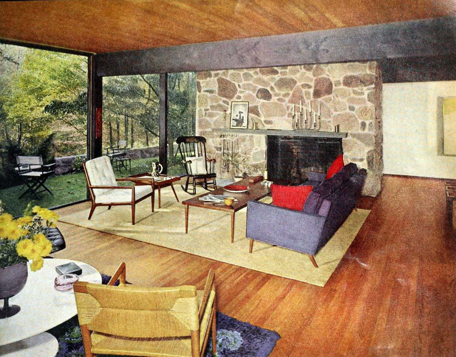 Open-plan midcentury modern living room decor and furniture (1962)