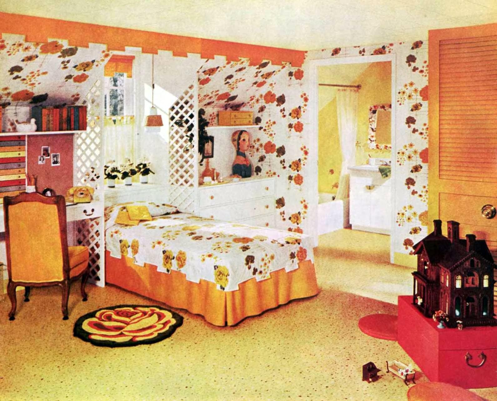 Orange and yellow child's bedroom - Colorful vintage 1950s home decor