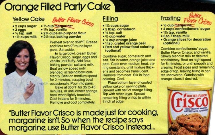 Orange-filled party cake (1985) recipe card