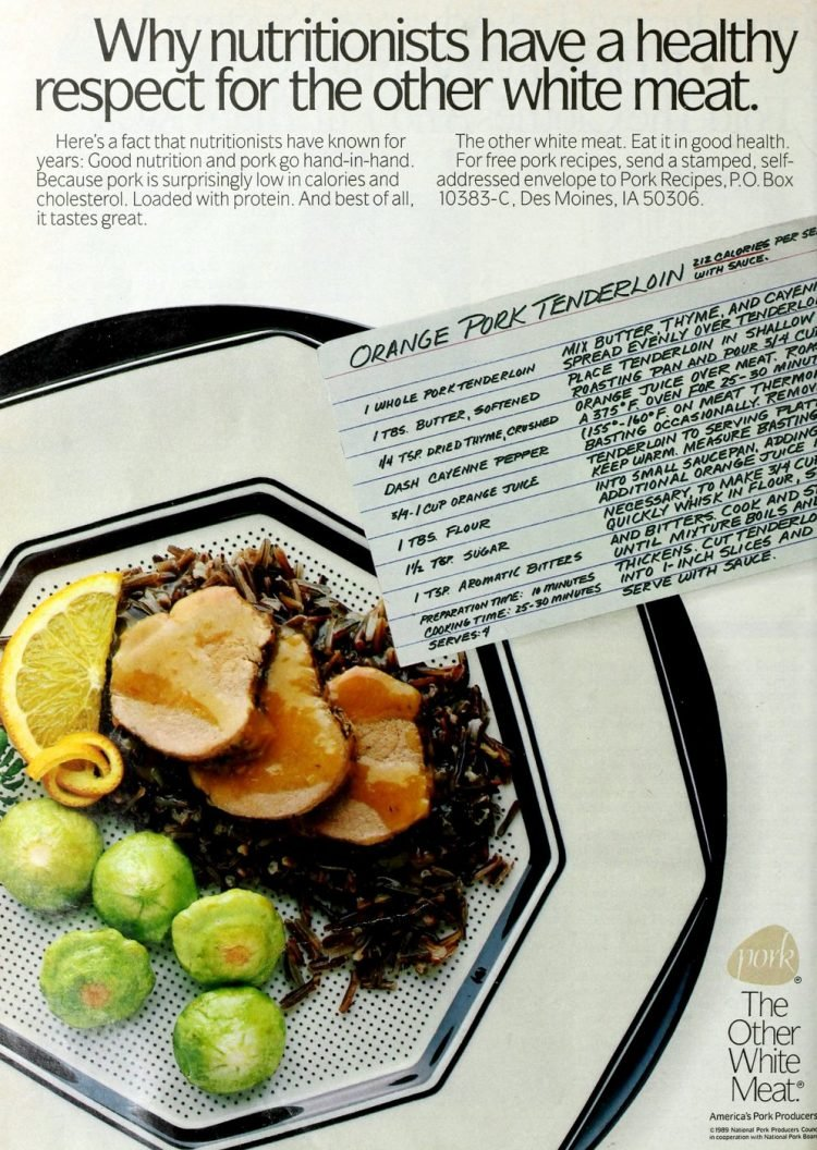 Orange pork tenderloin retro recipe(1989)