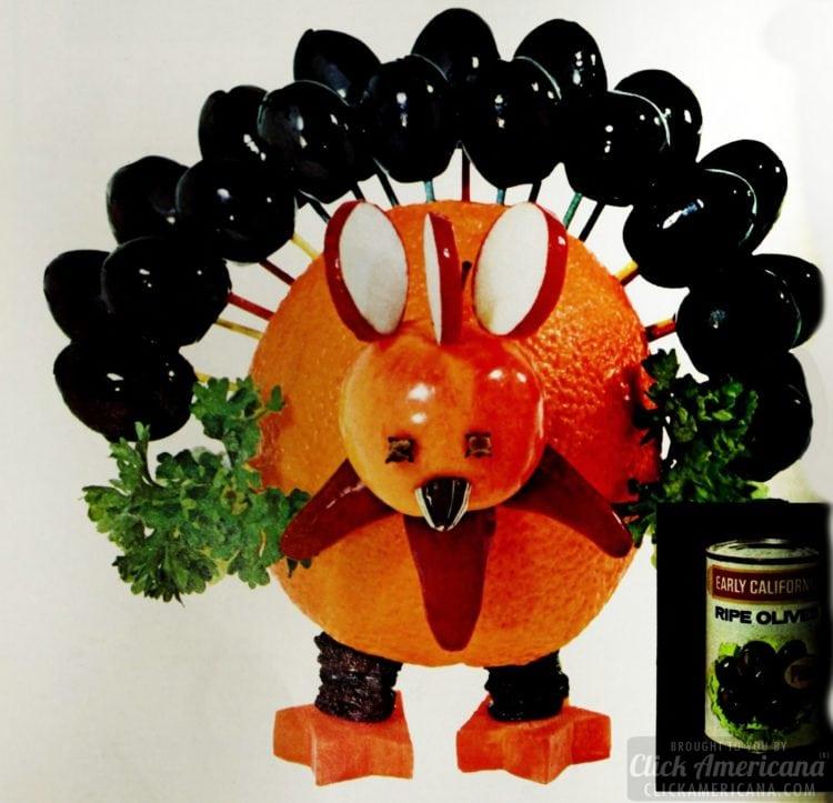 Orange turkey with olives - Vintage snack tray centerpiece