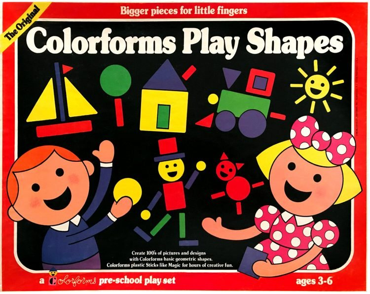 Original style Colorforms vintage play shapes - Reissue in 1977