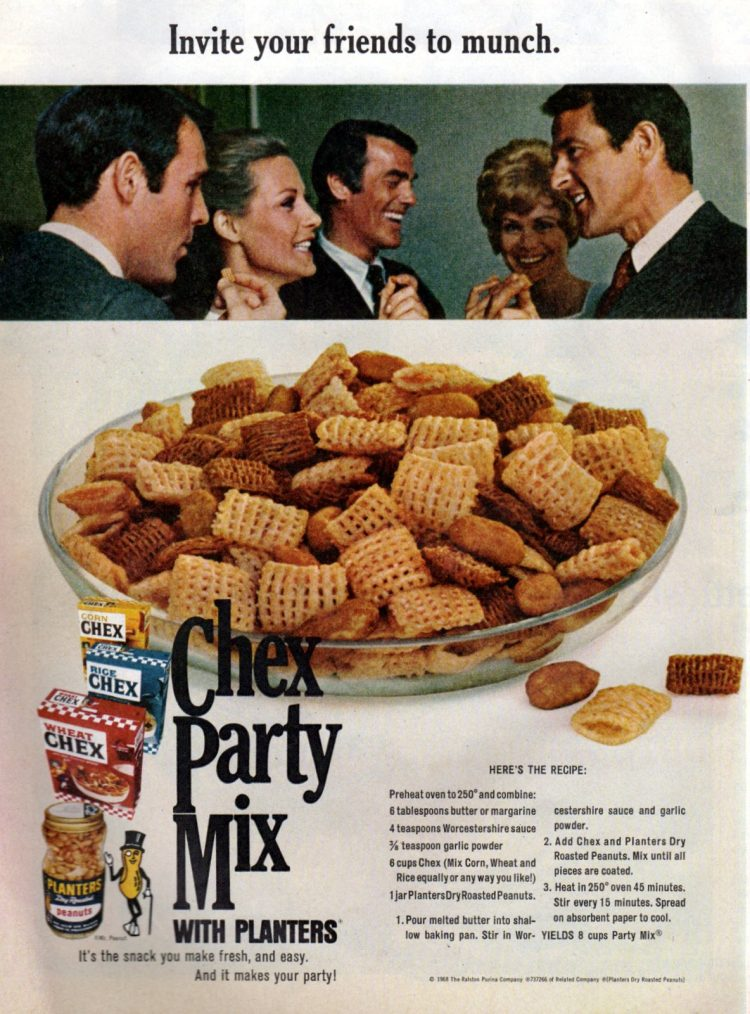 Original vintage Chex party mix recipe from November 1968