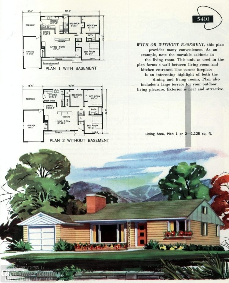Original vintage exteriors and floor plans for American houses built in 1958 - at Click Americana (11)