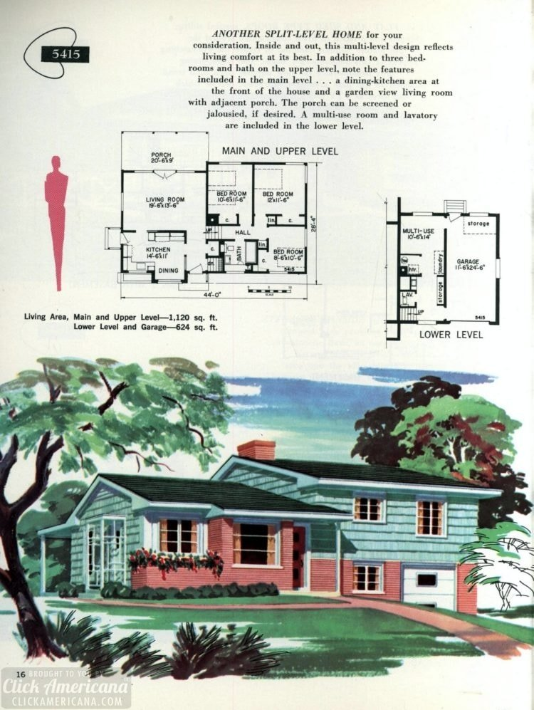 Original vintage exteriors and floor plans for American houses built in 1958 - at Click Americana (16)