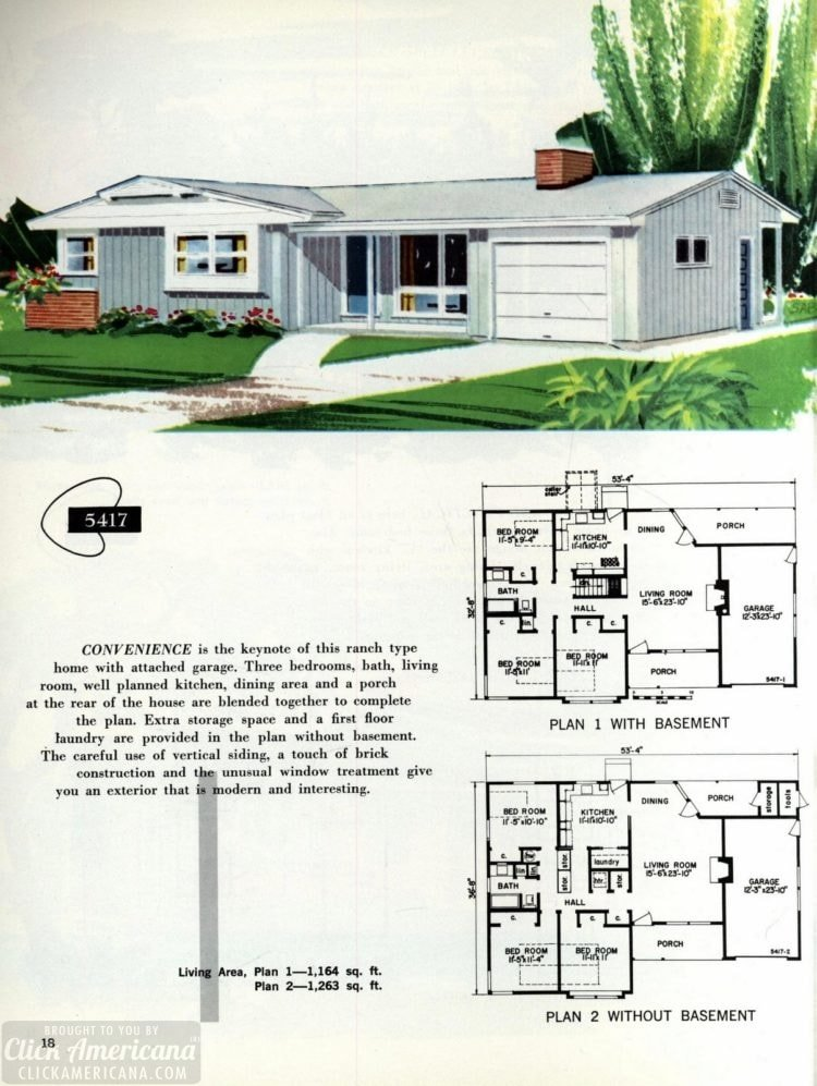Original vintage exteriors and floor plans for American houses built in 1958 - at Click Americana (18)