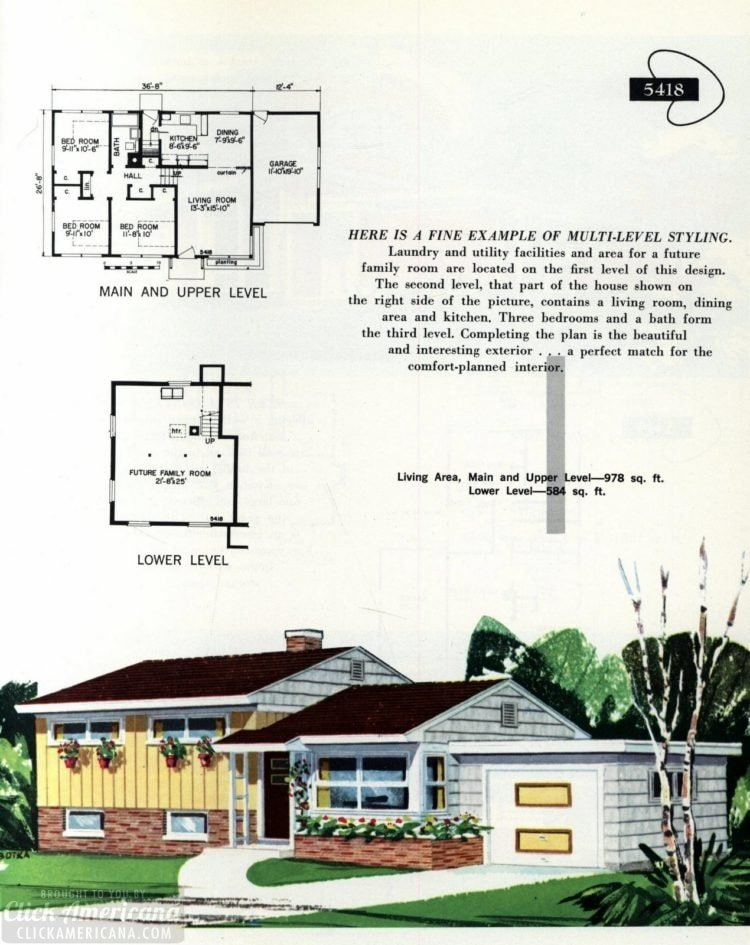Original vintage exteriors and floor plans for American houses built in 1958 - at Click Americana (19)