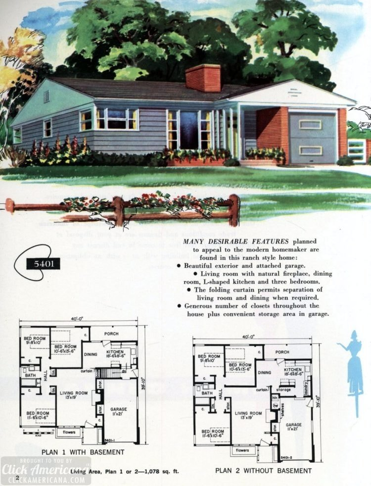 Original vintage exteriors and floor plans for American houses built in 1958 - at Click Americana (2)