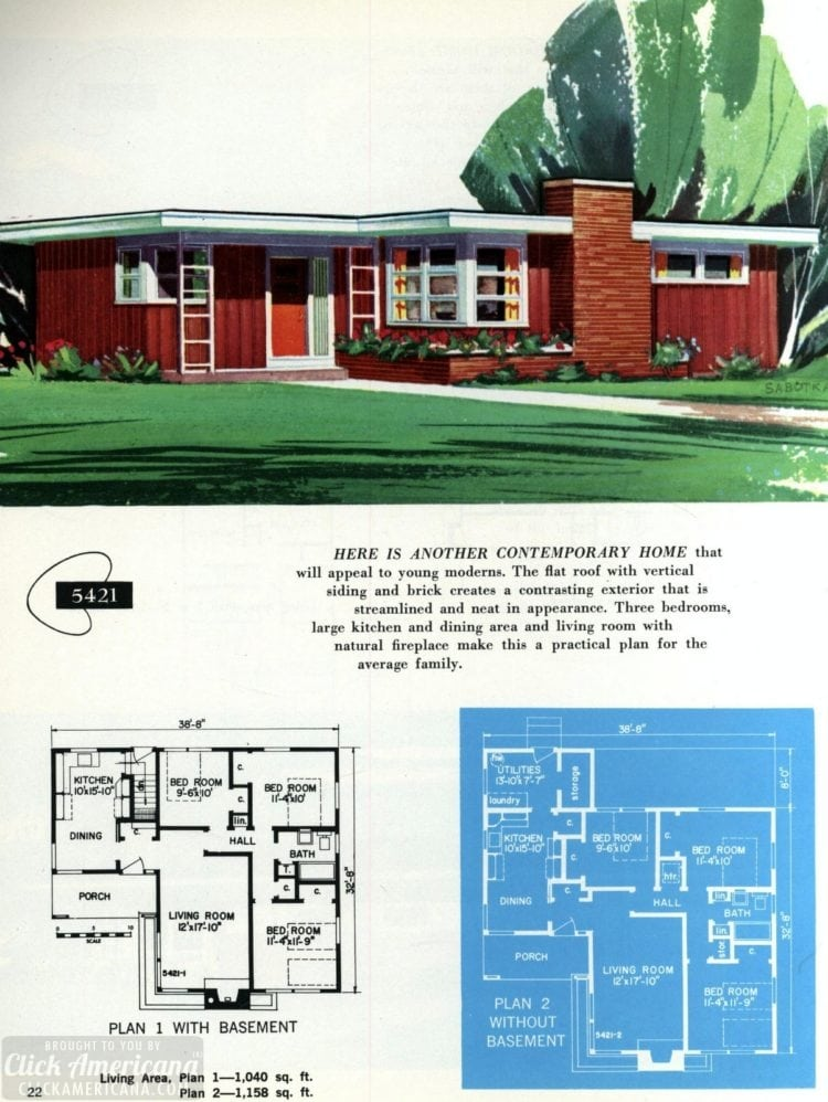 Original vintage exteriors and floor plans for American houses built in 1958 - at Click Americana (22)