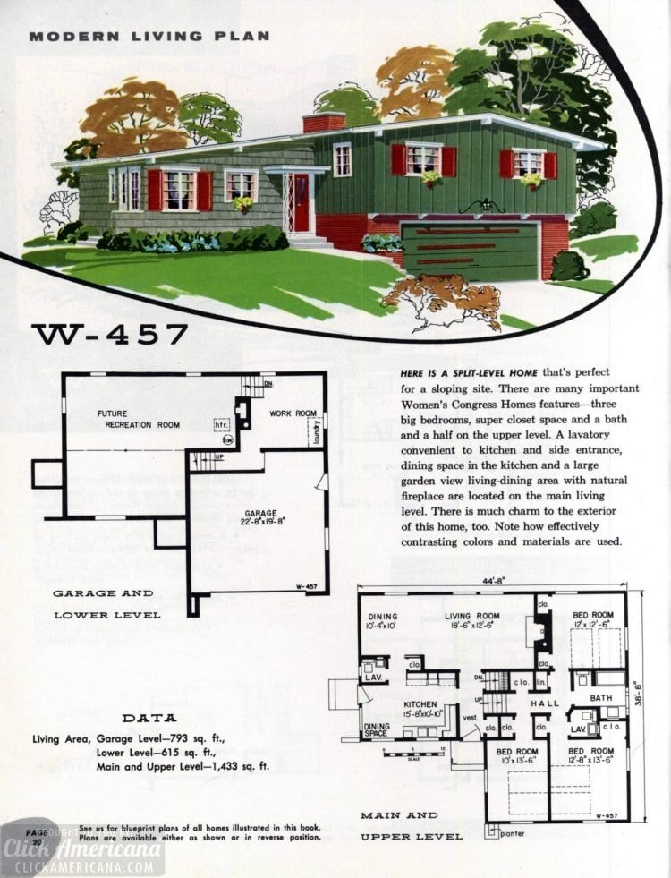 Original vintage exteriors and floor plans for American houses built in 1958 - at Click Americana (38)