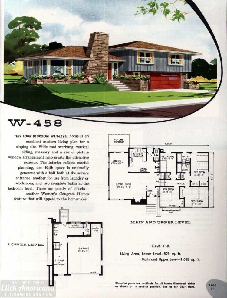 Original vintage exteriors and floor plans for American houses built in 1958 - at Click Americana (39)
