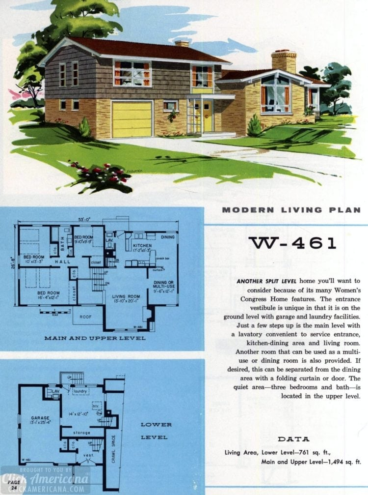 Original vintage exteriors and floor plans for American houses built in 1958 - at Click Americana (40)
