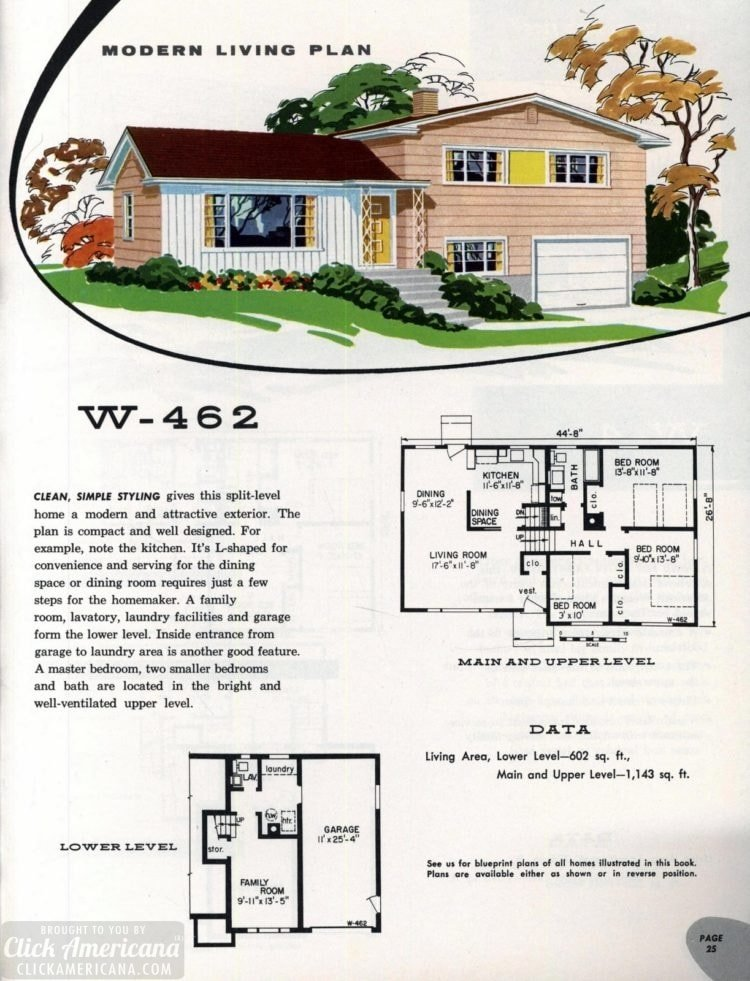 Original vintage exteriors and floor plans for American houses built in 1958 - at Click Americana (41)