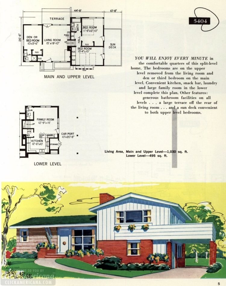 Original vintage exteriors and floor plans for American houses built in 1958 - at Click Americana (5)