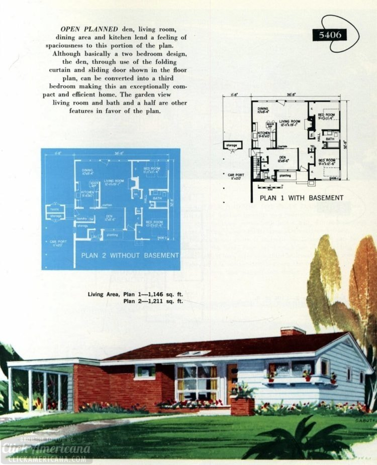 Original vintage exteriors and floor plans for American houses built in 1958 - at Click Americana (7)