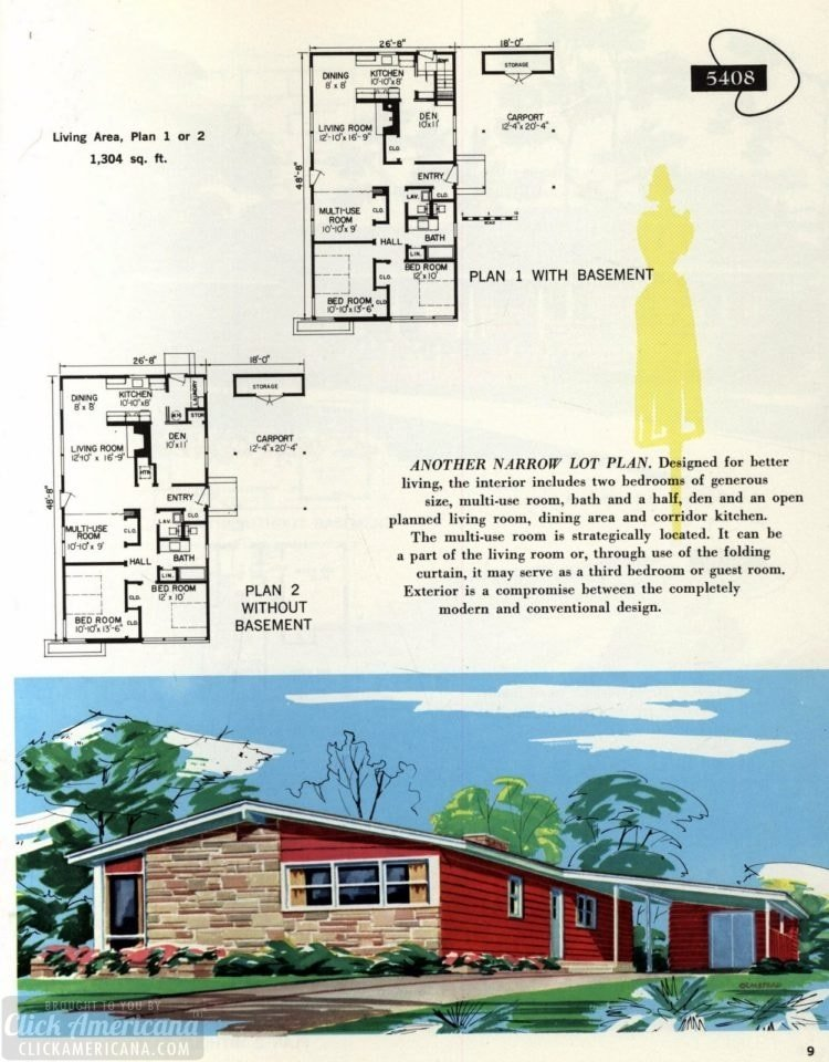 Original vintage exteriors and floor plans for American houses built in 1958 - at Click Americana (9)