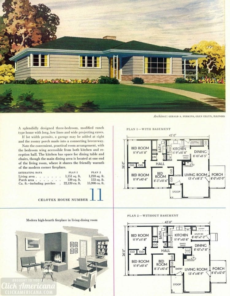 Original vintage house designs for homes built in 1952 - at Click Americana (4)