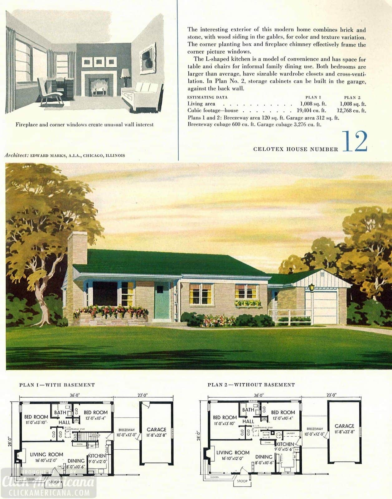 Original vintage house designs for homes built in 1952 - at Click Americana (5)