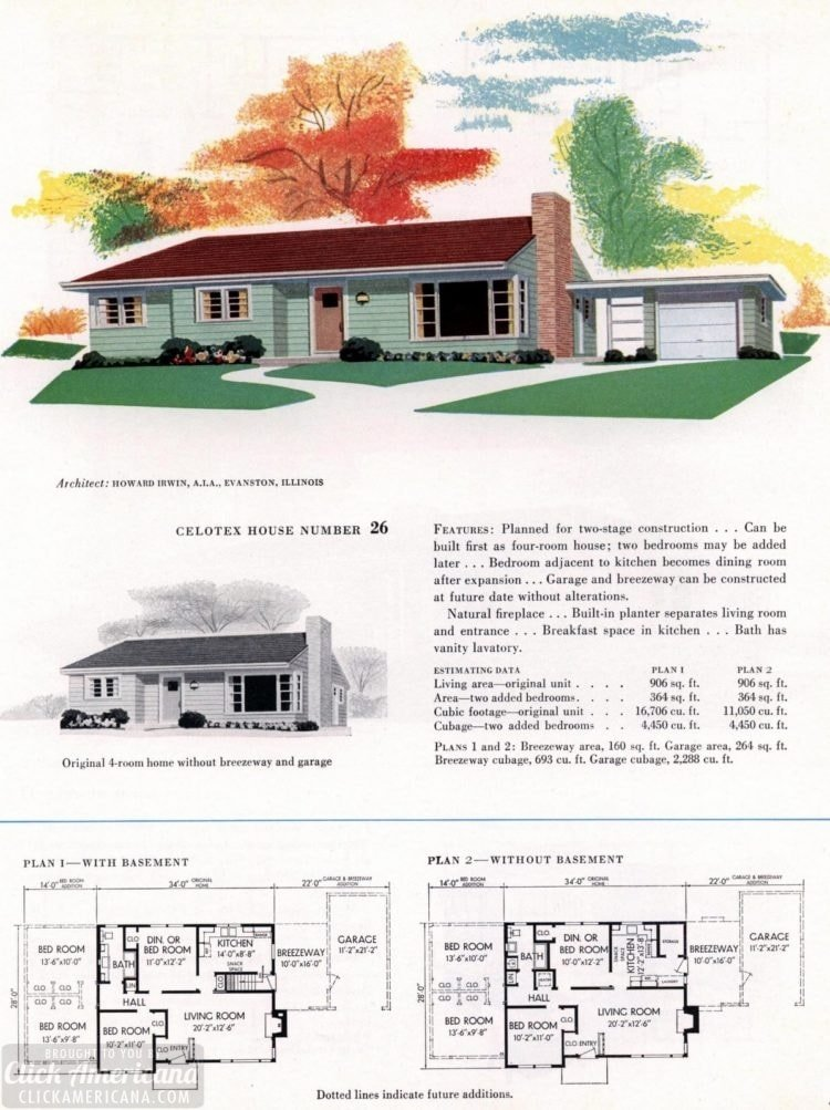 Original vintage house plans for American suburban homes built in 1953 - at Click Americana (3)