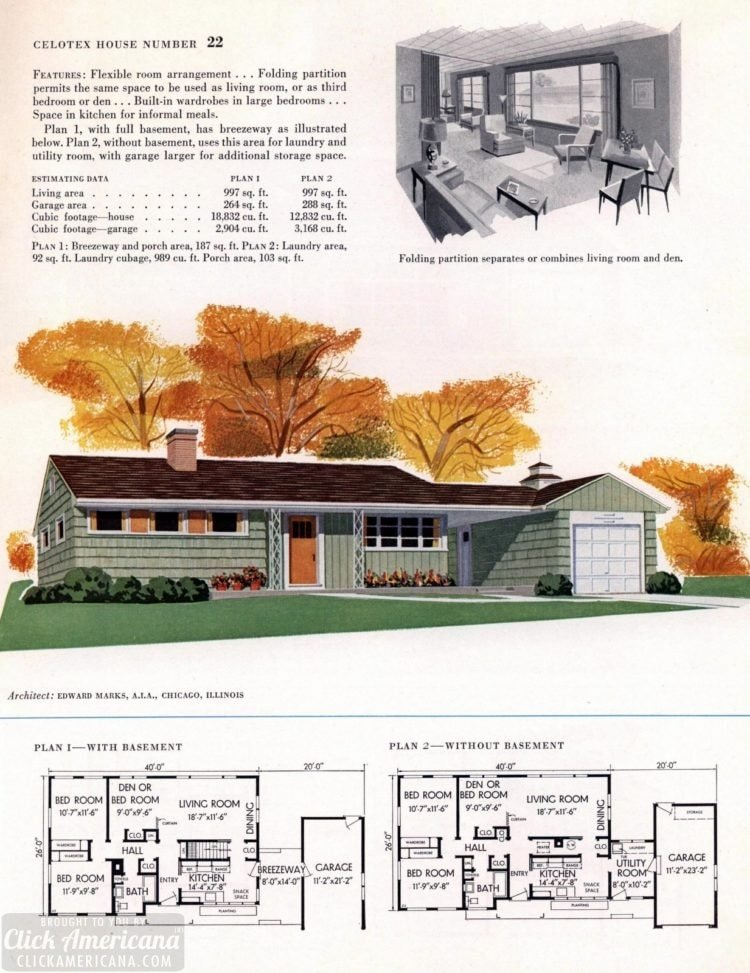 Original vintage house plans for American suburban homes built in 1953 - at Click Americana (6)