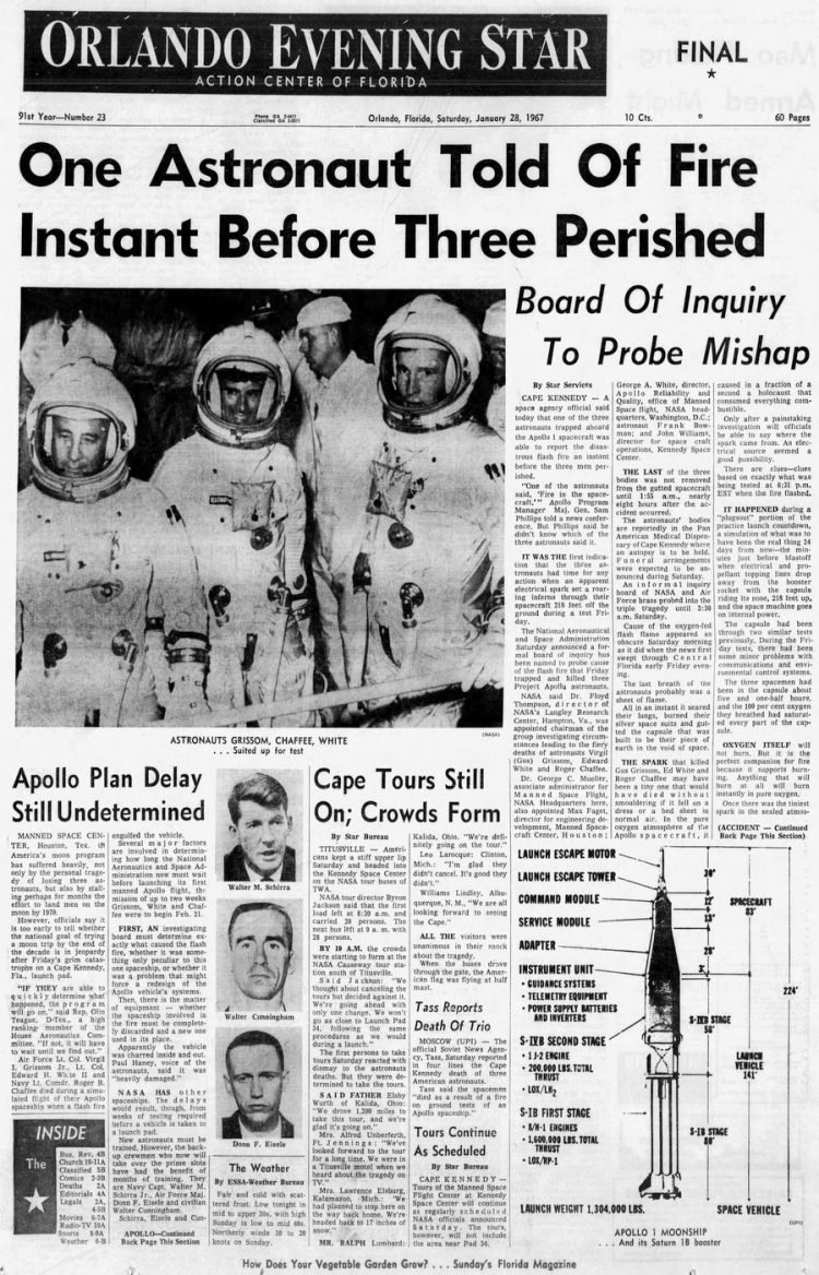 Orlando Evening Star headlines - Apollo 1 fire - 1967
