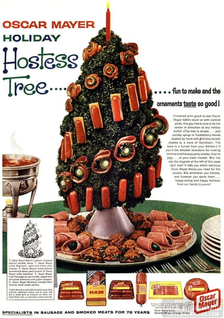 Holiday hostess tree! A retro-style Christmas tree with meat ornaments (1961)