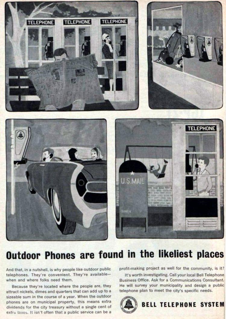 Outdoor payphones in 1963