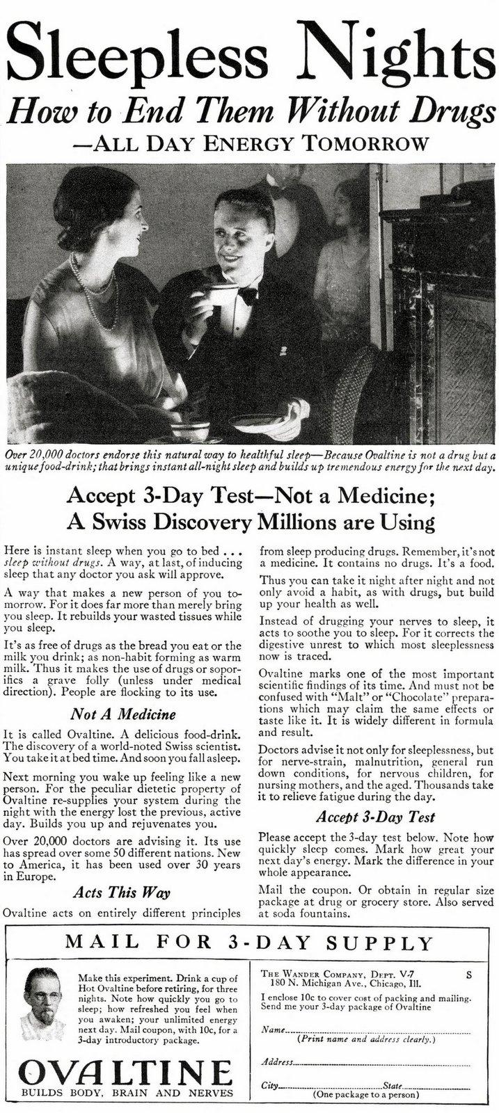 Ovaltine to end sleepless nights (1929)
