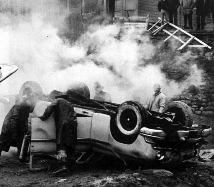 Overturned car from 1958