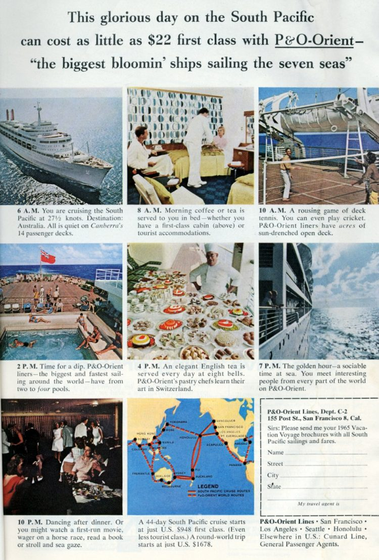 P and O Orient retro cruise ships round world trip 1965