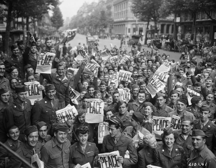 PEACE newspaper headlines - Celebrating VE Day - Victory in Europe 1945