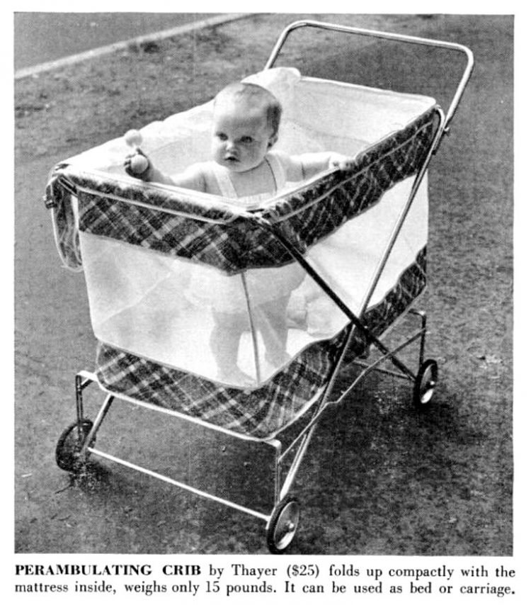 PERAMBULATING CRIB by Thayer baby gear from 1955