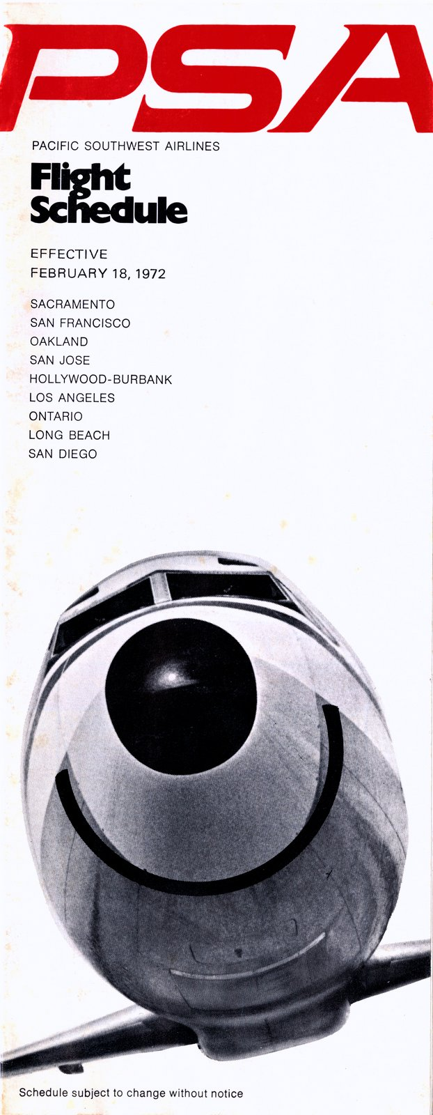 Pacific Southwest Airlines Flight schedule for 1972