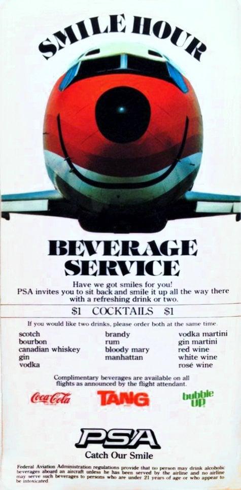 PSA beverage service menu with dollar cocktails 1970s