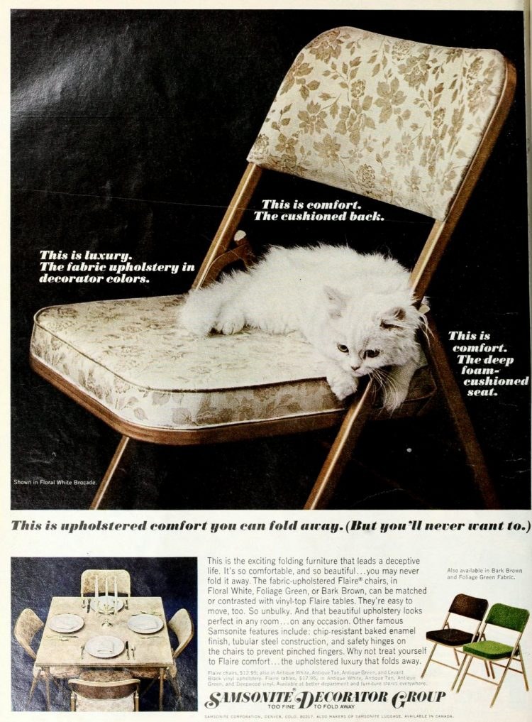Padded upholstered folding chairs from Samsonite - 1967