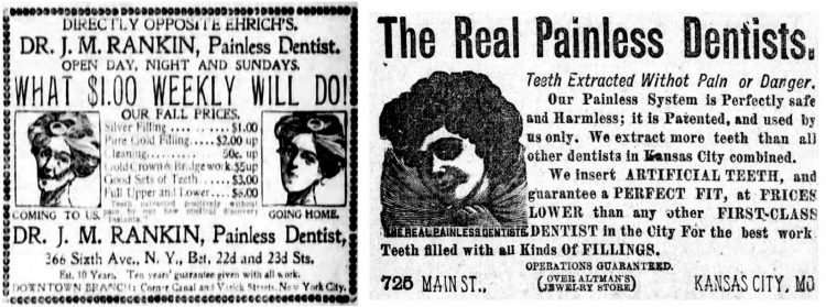 Painless dentistry ads from 1900 and 1893