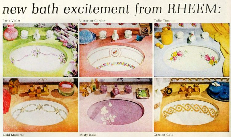 Painted and decorated vintage sinks from 1963