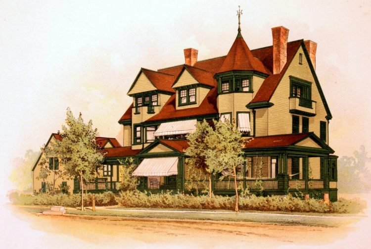 Painted home from 1895 with Victorian house paint color sample cards