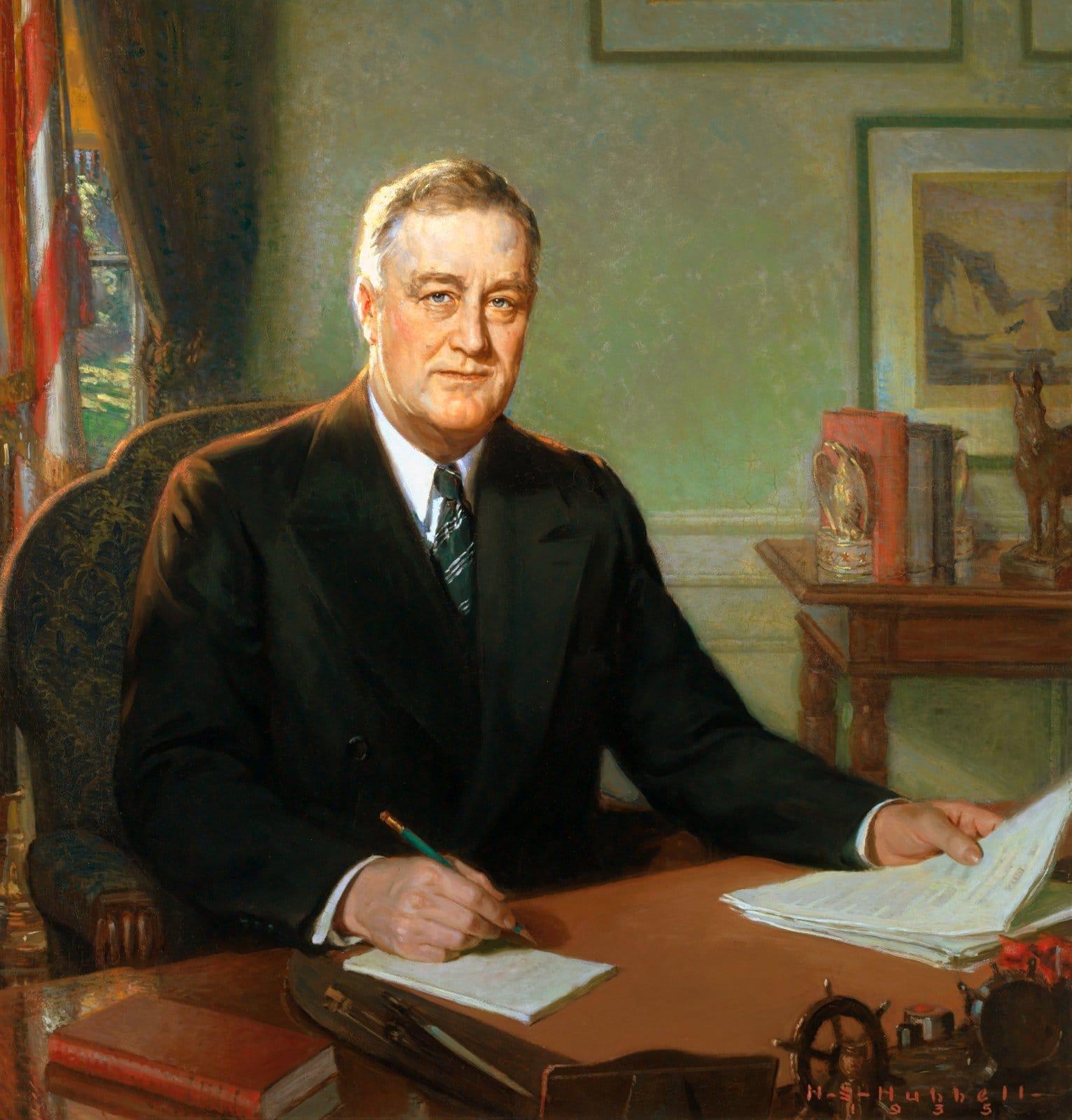 Painted portrait of President Franklin Delano Roosevelt