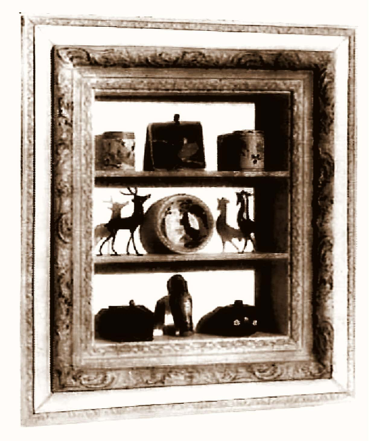 Painted shadowbox made with an old picture frame