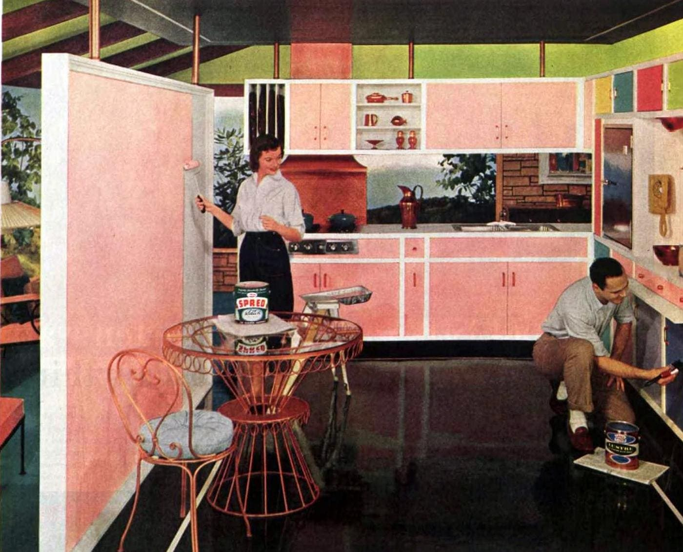 Painting a ktichen pink in 1957